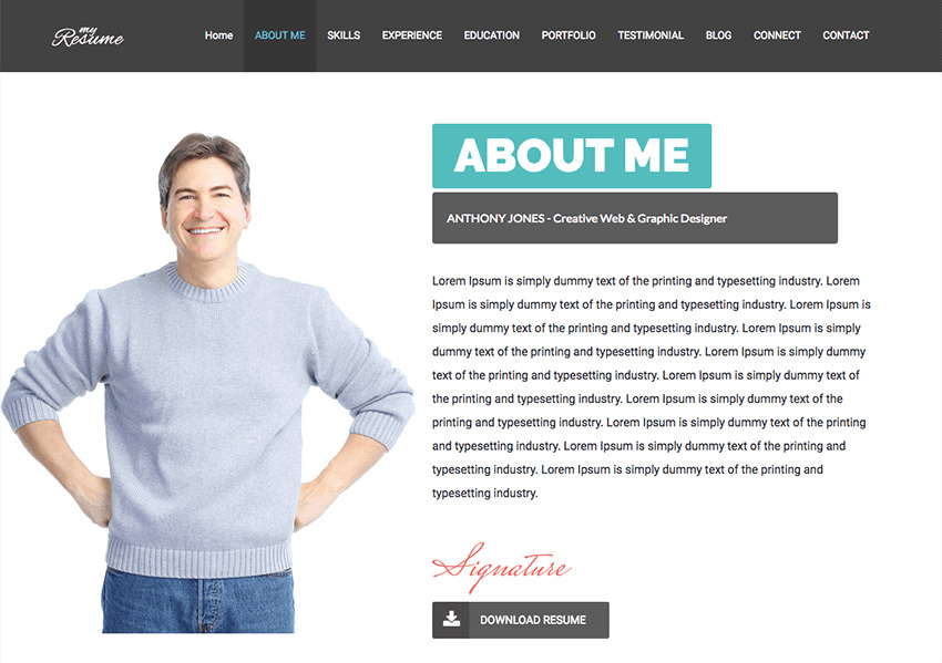 about me website sample